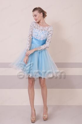 Sky Blue Lace Short Prom Dress with Long Sleeves