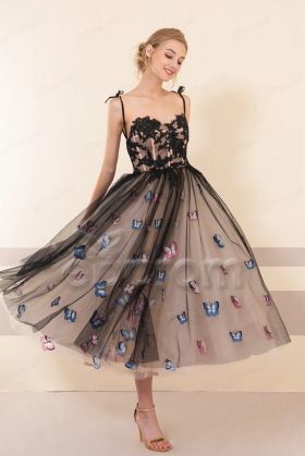 Black Champagne Embroidered Floral Midi Prom Dresses Ball Gown