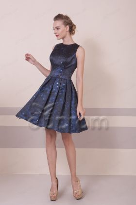 Starry Night Print Ccocktail Dresses Backless