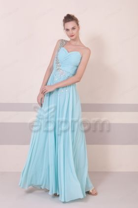 Tiffany Blue Crystal Long Prom Dresses