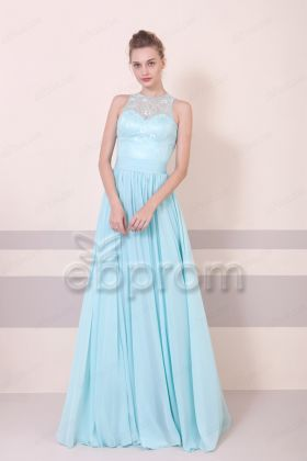Tiffany Blue Lace Bridesmaid Dress Maid of Honor Dress Long