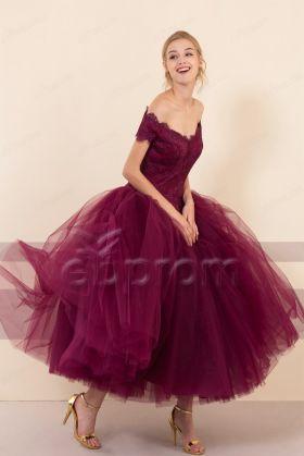 Vintage Burgundy Ball Gown Prom Dresses Midi Cocktail Dresses