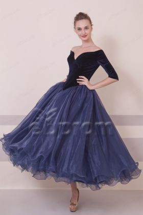 VIntage Navy Blue Midi Prom Dresses Ball Gown