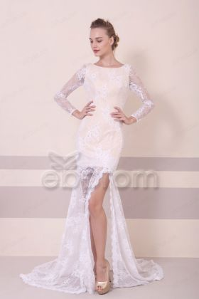 White Mermaid Slitted Prom Dresses Long Sleeves Open Back